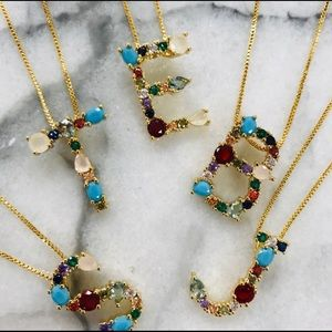Multi Colored Stone Initial Necklaces, NWT